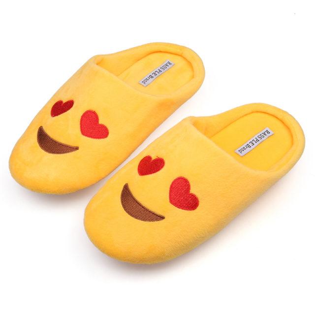 Women's Cute Emoji Soft Velvet Slippers