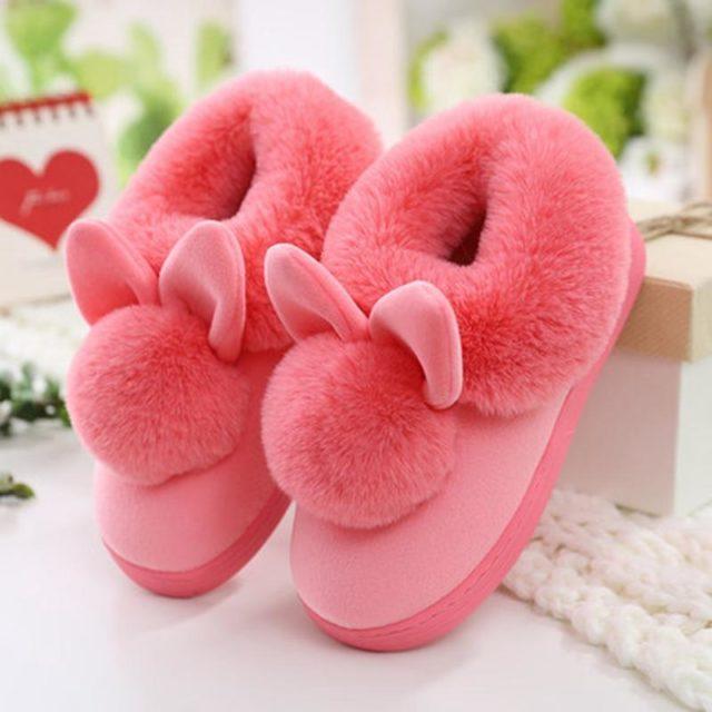 Women's Lovely Rabbit Ears Soft Home Slippers
