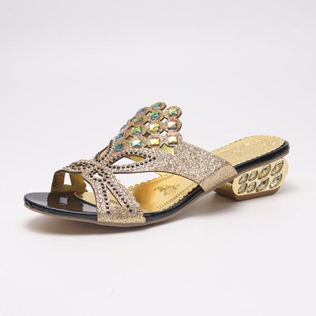 Summer Open Toe Crystal Flip Flops
