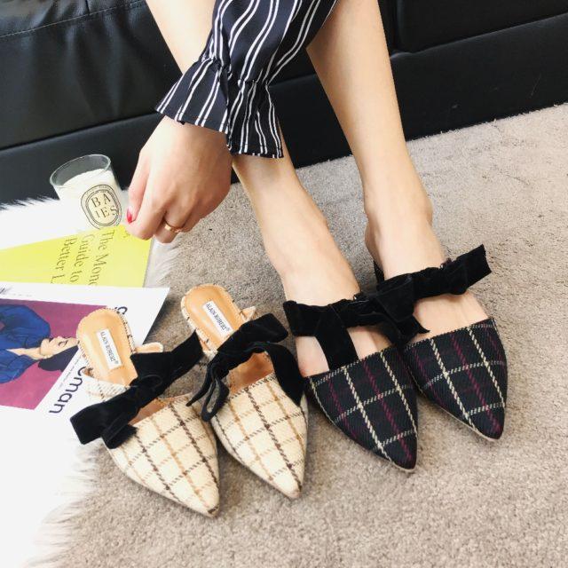 Genuine Leather Pointed Toe Flip Flops