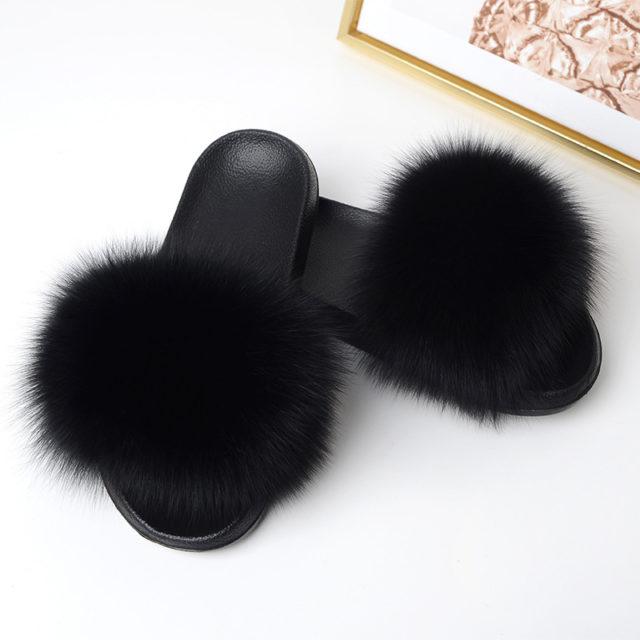 Women's Fur Flip Flops