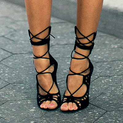 High-Heeled Lace-Up Women's Shoes