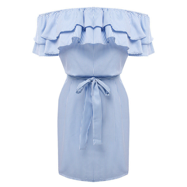 Women's Striped Off-Shoulder Dress