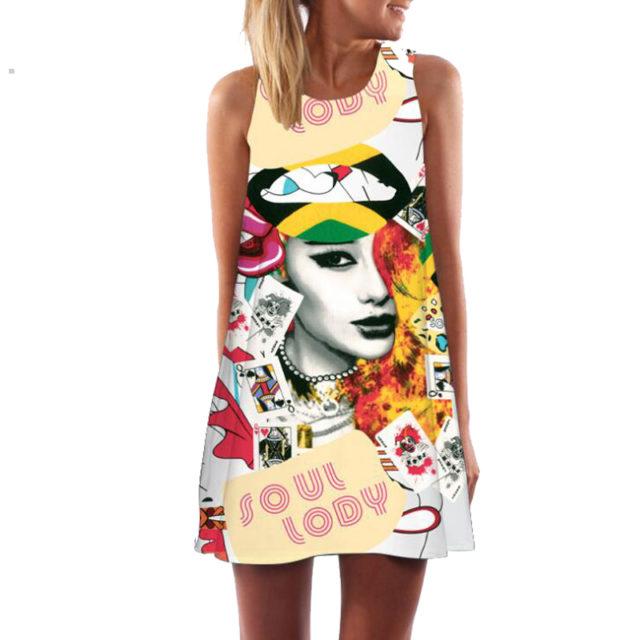 Women's Floral Printed Sleeveless O-Neck Dress
