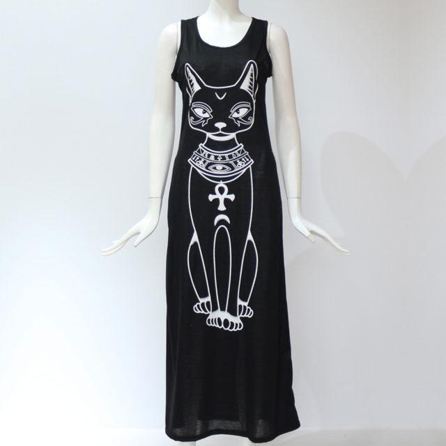 Women's Gothic Cat Long Bodycon Dress