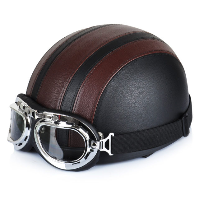 Vintage Design Leather-Covered Motorcycle Helmet