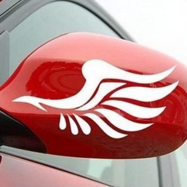 Car Rearview Mirror Wings Shaped Stickers