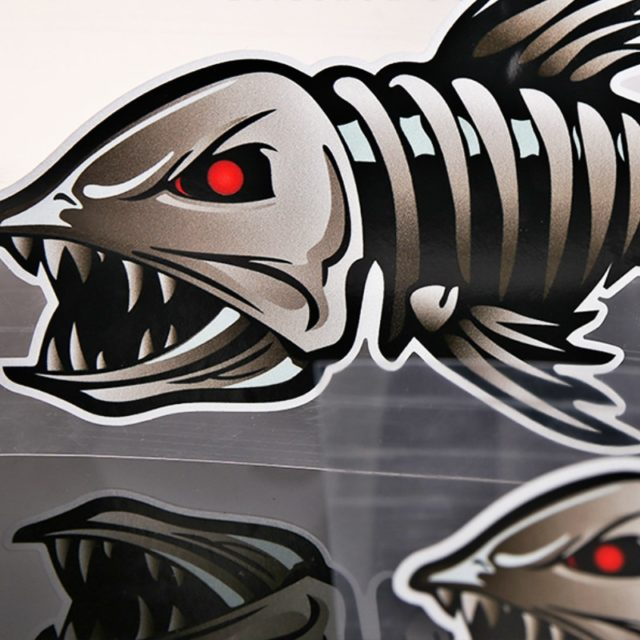 3D Fish Skeleton Car Stickers