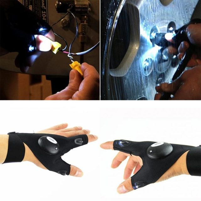 Black Outdoor Fishing Glove with LED Flashlight