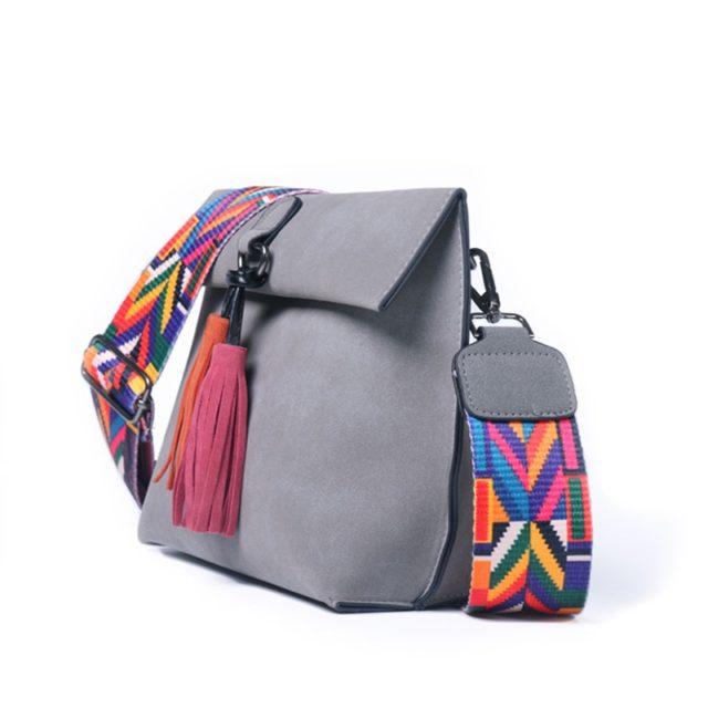 Women's Tassel Embellished Leather Shoulder Bag