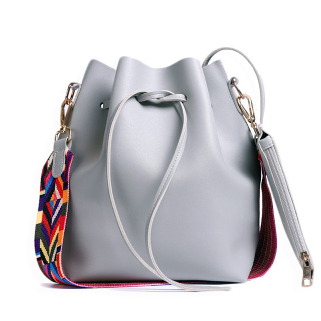 Women's PU Leather Bucket Bag With Colorful Strap