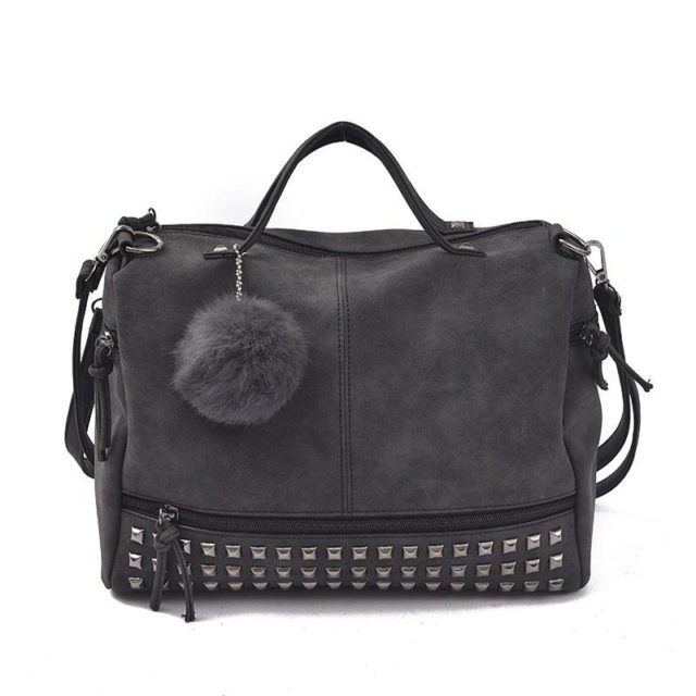 Women's Leather Top-Handle Bag with Rivets