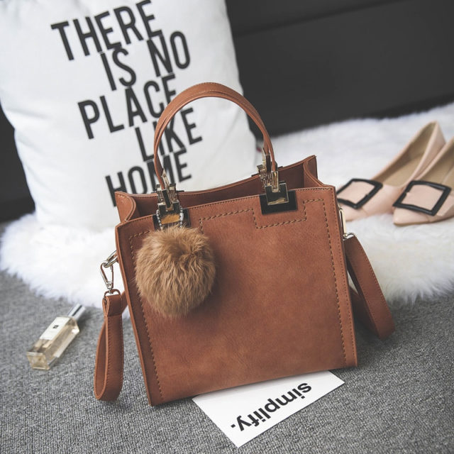 Women's Suede Leather Handbag with Fur Ball