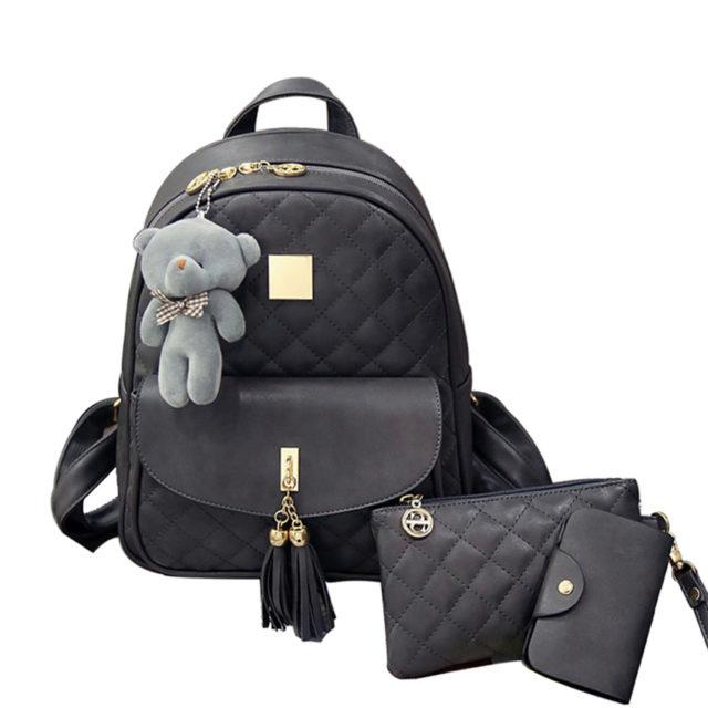 Women's Cute Backpack Set with Teddy Bear