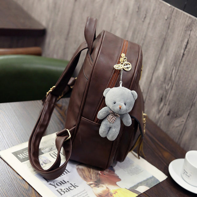 Women's Cute Backpack Set with Teddy Bear
