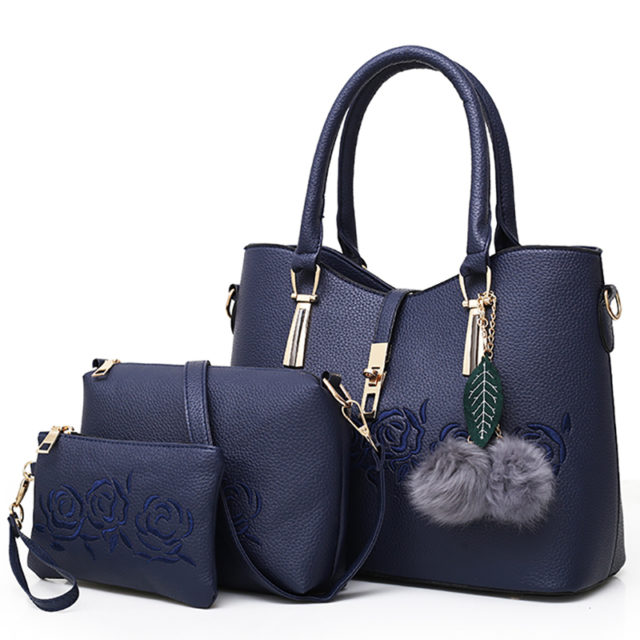 Set of 3 Matching Casual Bags with Rose Flower Prints