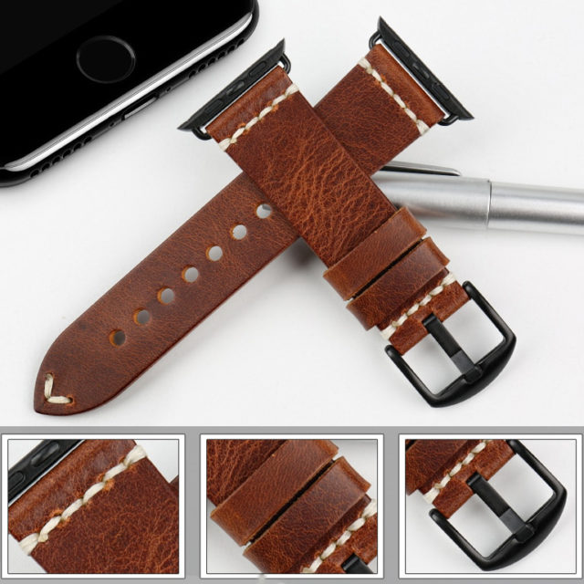 Stylish Leather Straps for Apple Watch with Metal Buckle