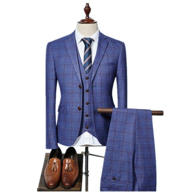 3 Pcs Plaid Suit for Men