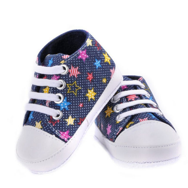 Stylish Comfortable Cotton Baby Lace-Up Sneakers