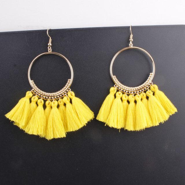 Long Colorful Tassel Drop Earrings