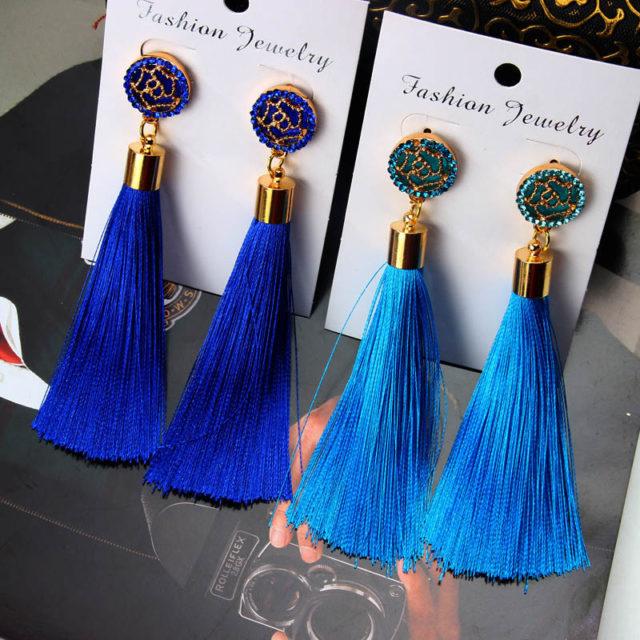 Bohemian Women's Crystal Tassel Earrings