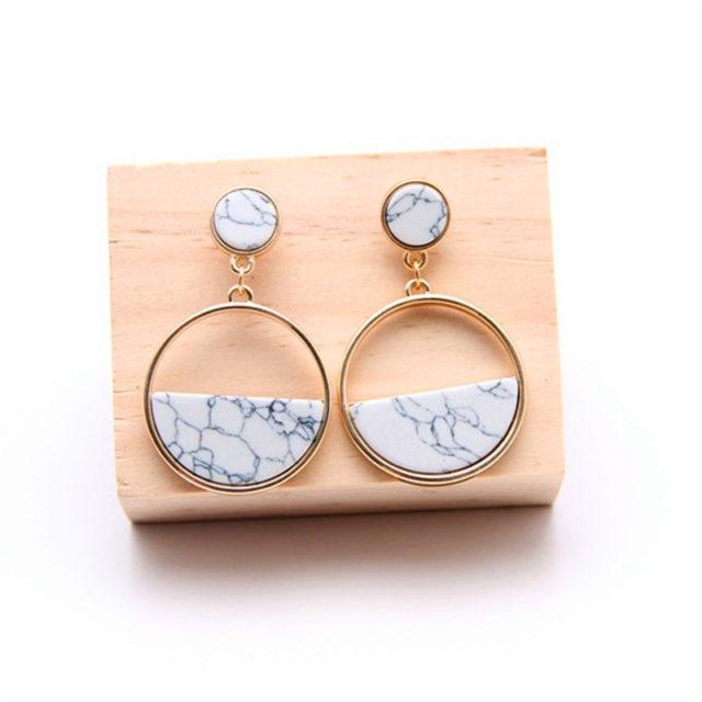 Fashion Geometric Marble Earrings