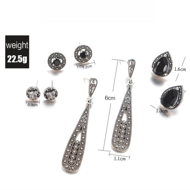 Set Women's Crystal Bohemian Stud Earrings