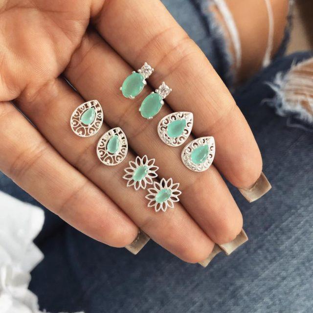 Set Women's Crystal Bohemian Stud Earrings