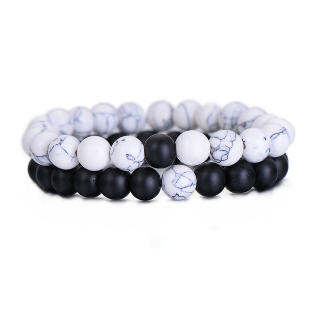 Classic Natural Stone Yin Yang Beaded Bracelets, 2Pcs/Set