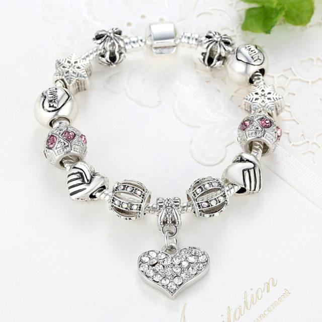 Silver Crystal Charm Bracelet for Women