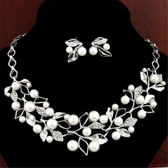 Simulated Pearl Bridal Jewelry Set
