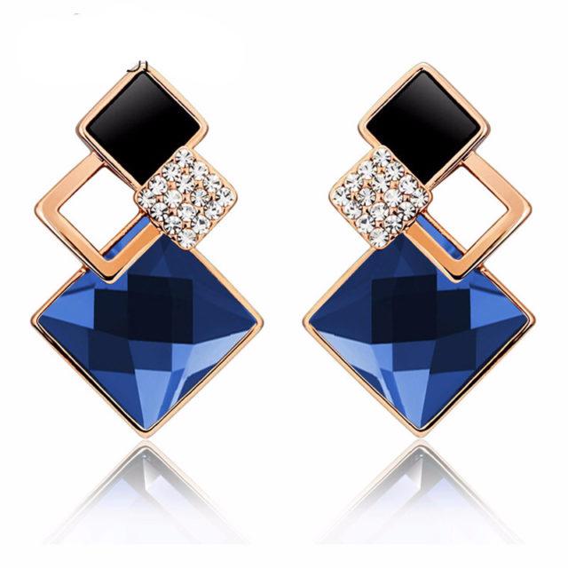 Vintage Long Square Ladies' Crystal Earring