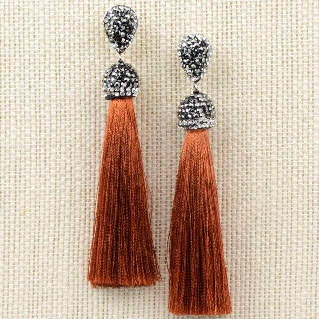 Long Crystal Tassel Earrings