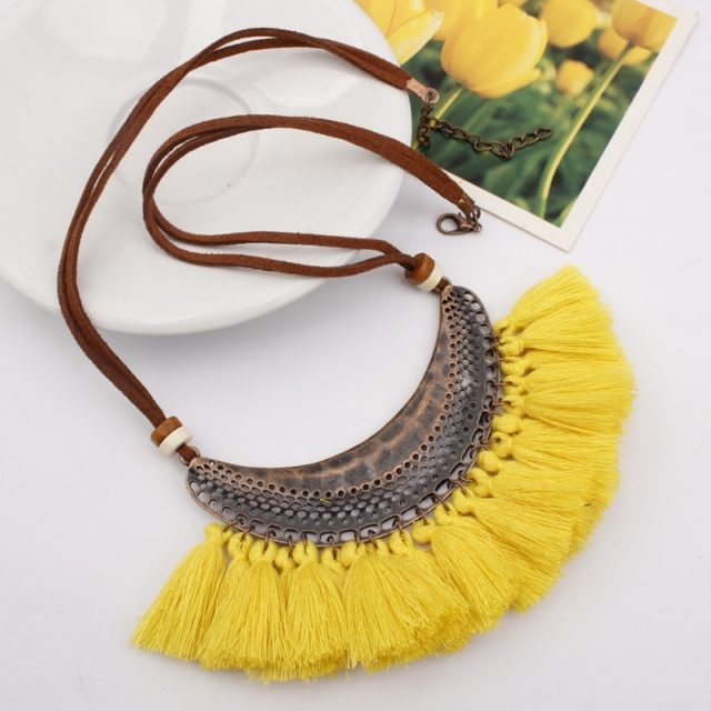 Women's Boho Necklace with Tassels