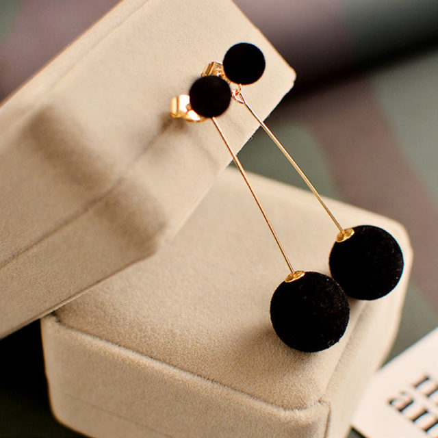 Cute Double Ball Drop Earrings
