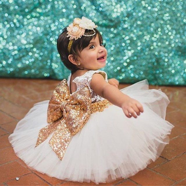 Luxury Bouffant Sequined Baby Girl's Party Dress