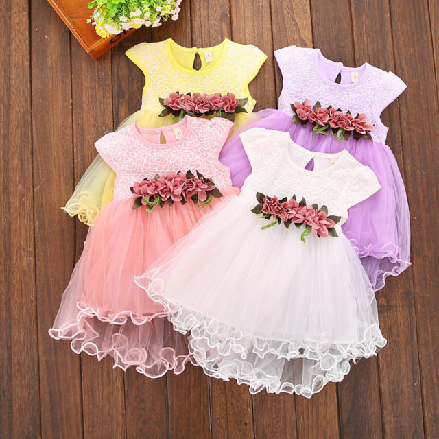 Lovely Floral Lace Small Princess Dress