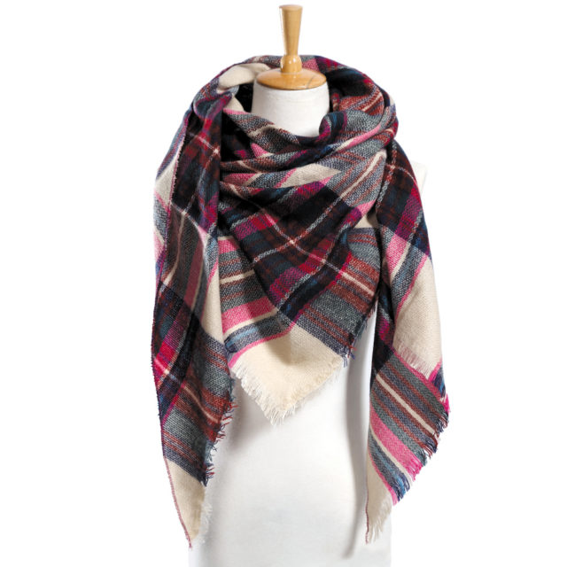 Women's Winter Plaid Shawl