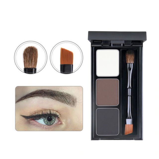 Eyebrow Enhancer Kit with 3 Color Pallet and Application Brush