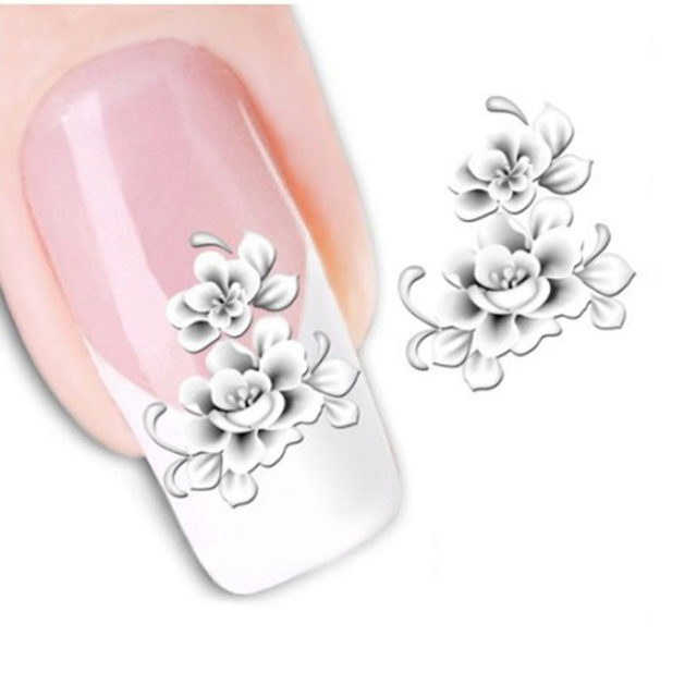 White Flowers Nail Art Stickers
