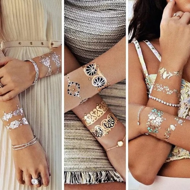 Boho Style Gold Temporary Tattoo Set
