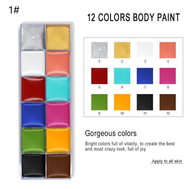 Face and Body Oil Paints 12 Colors Set