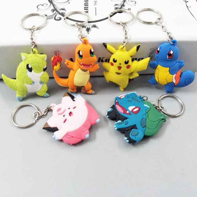 Lovely Mini 3D Anime Pokemons Shaped Keychains