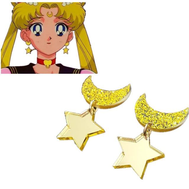 Sailor Moon Anime Star And Moon Shaped Earrings