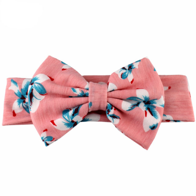Girl's Cotton Floral Elastic Bow Headband