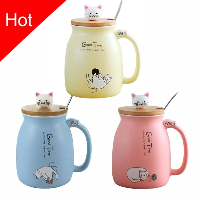 Cat Printed Ceramic Mug with Spoon