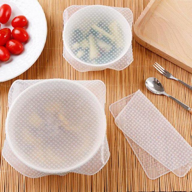 Fresh Keeping Food Silicone Wrap 4 Pcs Set