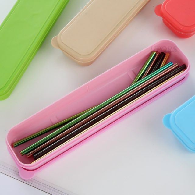 Reusable Colorful Stainless Steel Drinking Straws 4 pcs Set