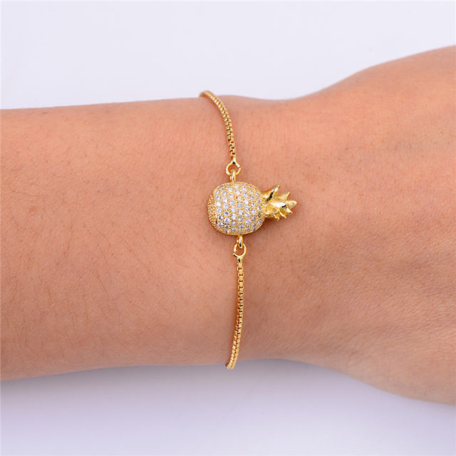 Cute Pineapple Cubic Zirconia Bracelet for Girls